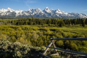 JB Tetons and split rail fence