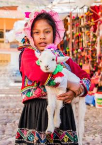 017-Peruvian girl with baby Alpaca